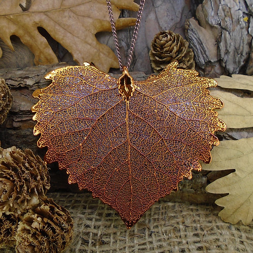 Cottonwood Leaf Pendant - Red Copper (Large)