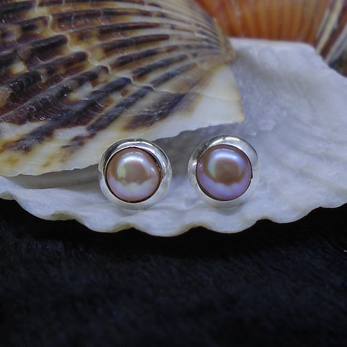 Pink Pearl Sterling Silver Stud Earrings