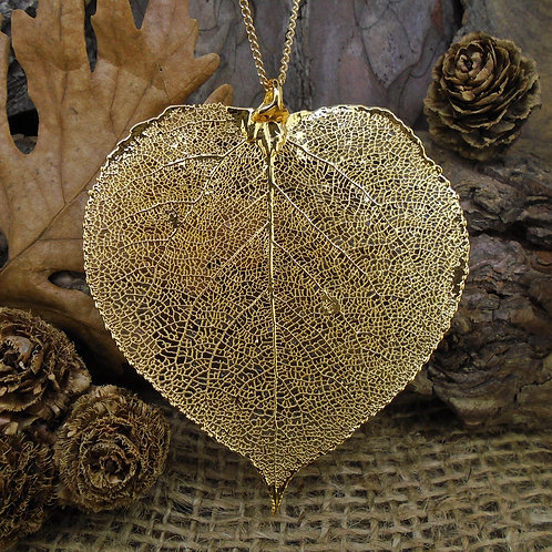 Aspen Leaf Pendant - Gold (Large)