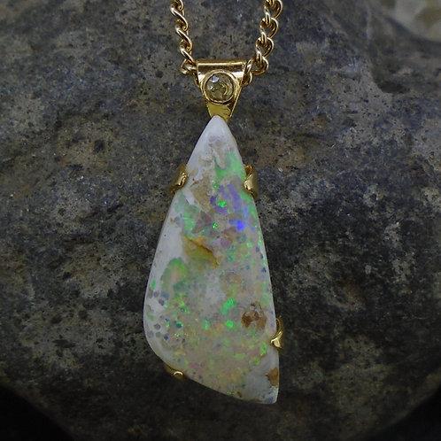 Australian Boulder Opal & Diamond 18ct Gold Pendant