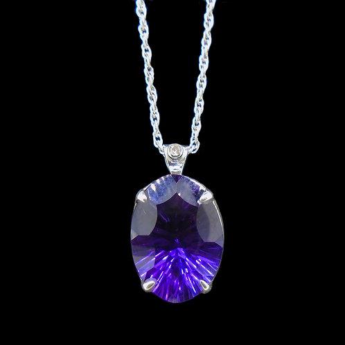 Amethyst & Diamond Sterling Silver Pendant