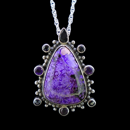 Sugilite, Black Sapphire & Amethyst Sterling Silver Pendant