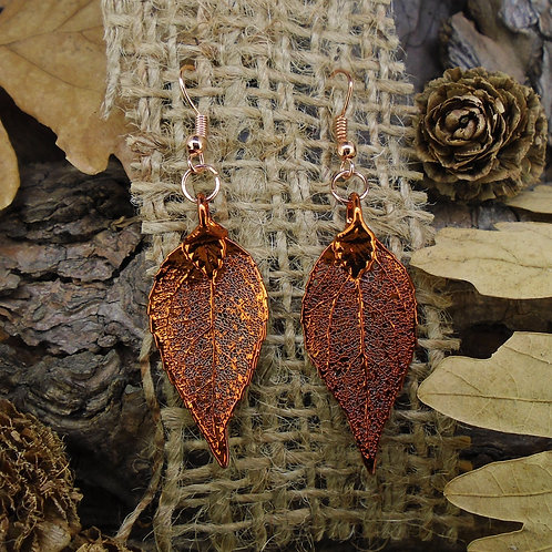 Laurel Leaf Earrings - Red Copper