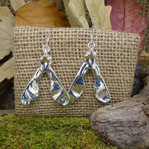 Sycamore Seed Earrings - Silver