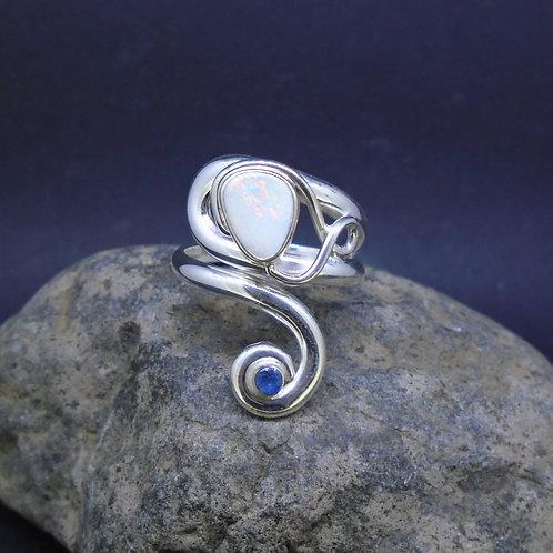 Australian Opal Doublet & Sapphire Sterling Silver Twist Ring