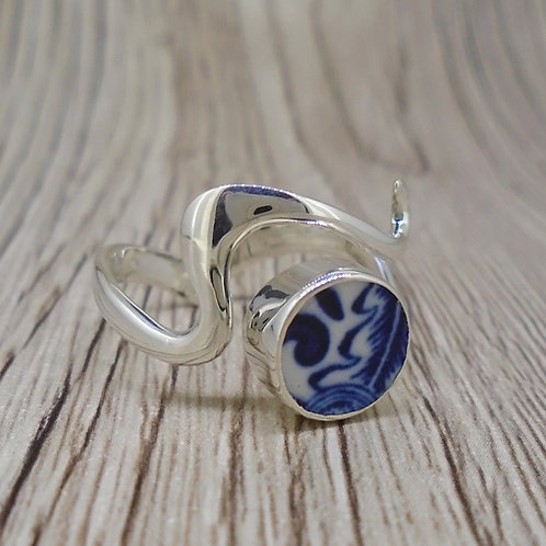 Old Willow 'Swirl' Sterling Silver Adjustable Wave Ring