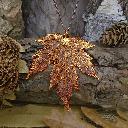 Silver Maple Leaf Pendant - Red Copper (Medium)