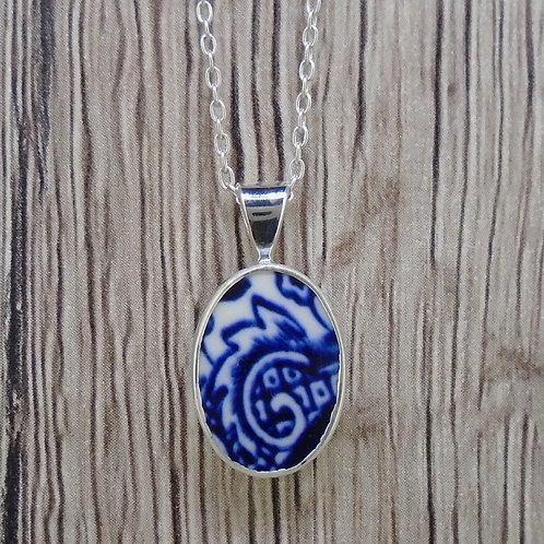 Old Willow 'Swirl' Sterling Silver Small Oval Pendant