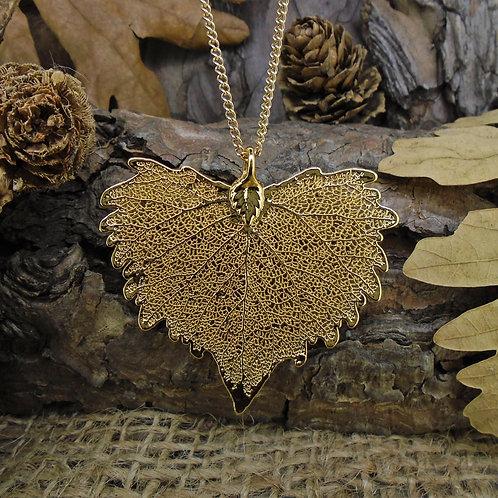 Cottonwood Leaf Pendant - Gold (Medium)