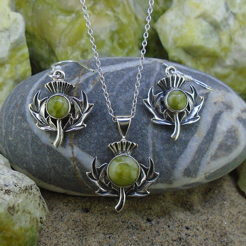 Scottish Thistle Sterling Silver Jewellery Set