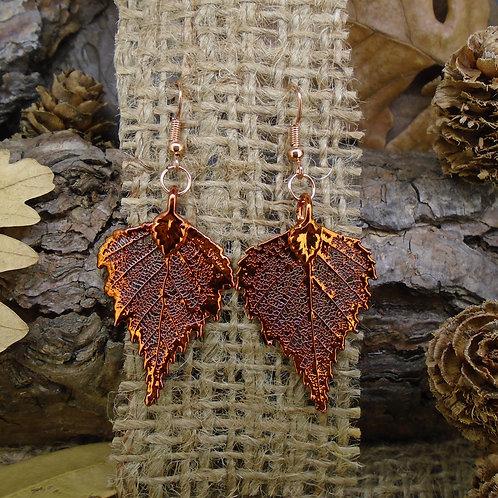 Birch Leaf Earrings - Red Copper