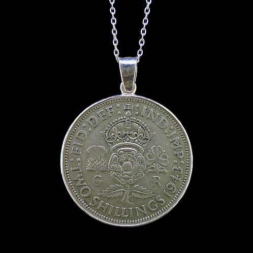 Two Shilling (Florin) Sterling Silver Pendant