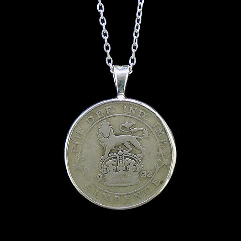 George V Sixpence Sterling Silver Pendant