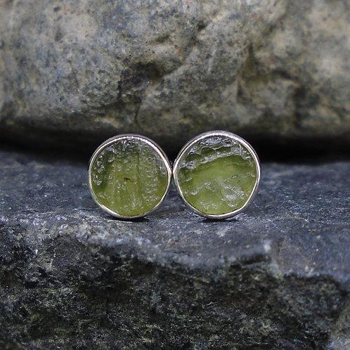 Moldavite Sterling Silver Stud Earrings