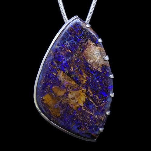 Wood Opal Sterling Silver Pendant
