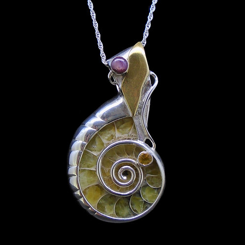 Ammonite, Star Ruby & Citrine Sterling Silver Pendant