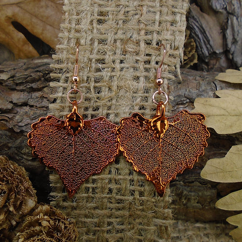 Cottonwood Leaf Earrings - Red Copper