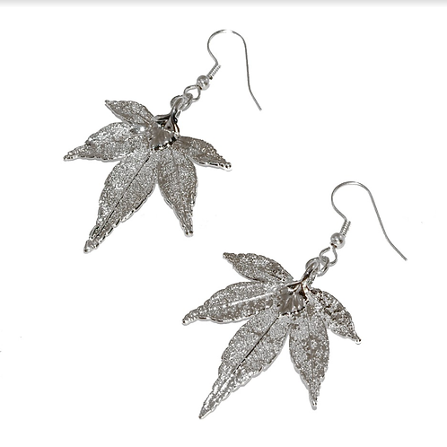 Japanese Maple Silver Earrings