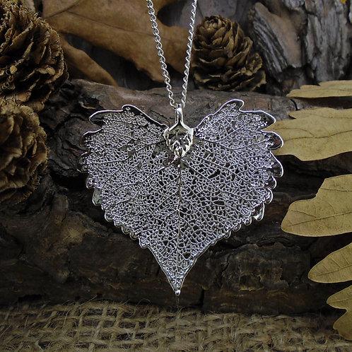 Cottonwood Leaf Pendant - Silver (Medium)