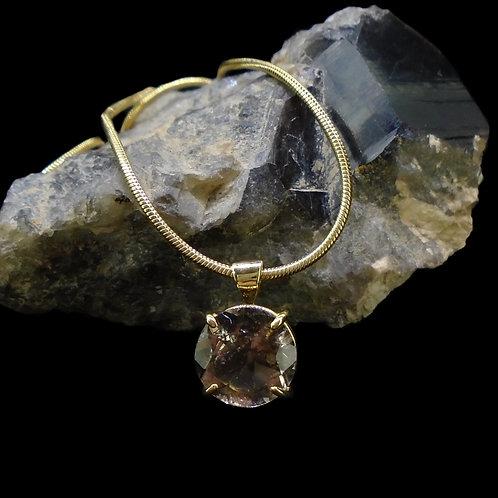 Cairngorm Smoky Quartz Solid 18ct Gold Pendant