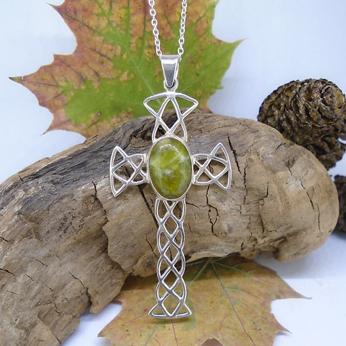 Highland Marble Filigree Celtic Cross Sterling Silver Pendant