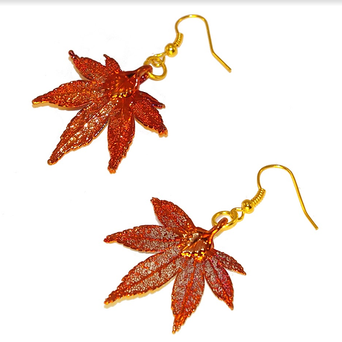 Japanese Maple Red Copper Earrings