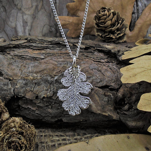 Oak Leaf Pendant - Silver (Small)