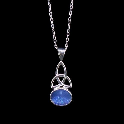 Australian Opal Doublet Celtic Knot Sterling Silver Pendant
