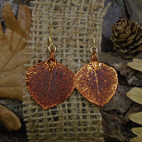 Aspen Leaf Earrings - Red Copper