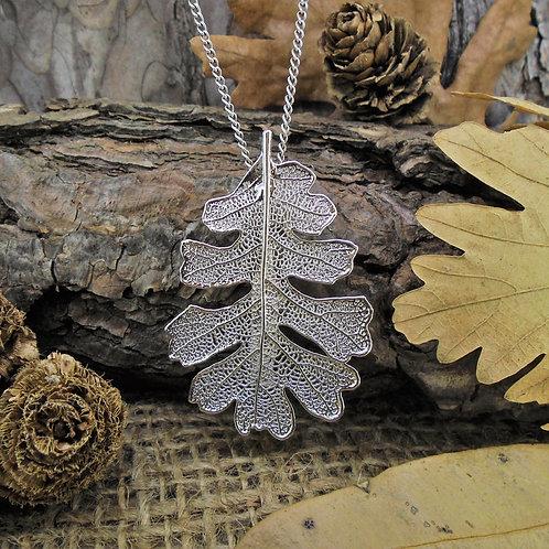 Oak Leaf Brooch Pendant - Silver
