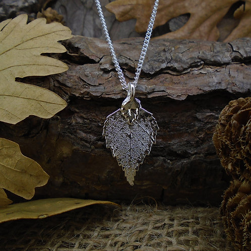 Birch Leaf Pendant - Silver (Small)