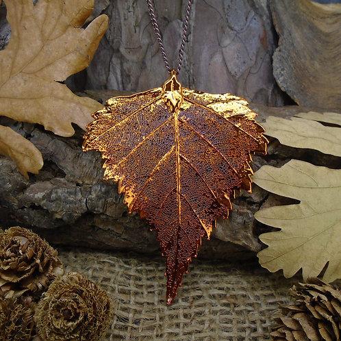 Birch Leaf Pendant - Red Copper (Large)