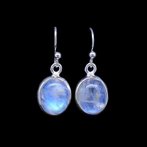 Moonstone Sterling Silver Oval Drop Earrings