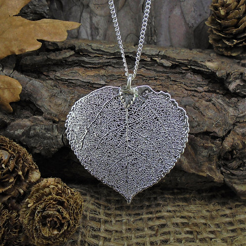 Aspen Leaf Pendant - Silver (Medium)