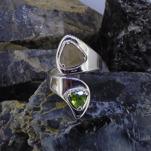 Cairngorm Smoky Quartz & Peridot Sterling Silver Wrap Ring
