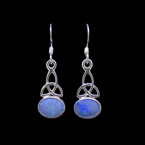 Australian Opal Doublet Celtic Knot Sterling Silver Earrings