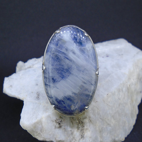 Blue Moonstone Sterling Silver Statement Ring