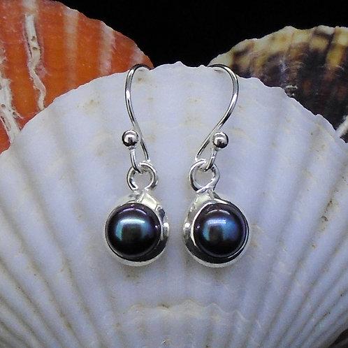 Black Pearl Sterling Silver Drop Earrings
