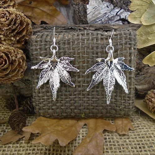 Japanese Maple Leaf Earrings - Silver