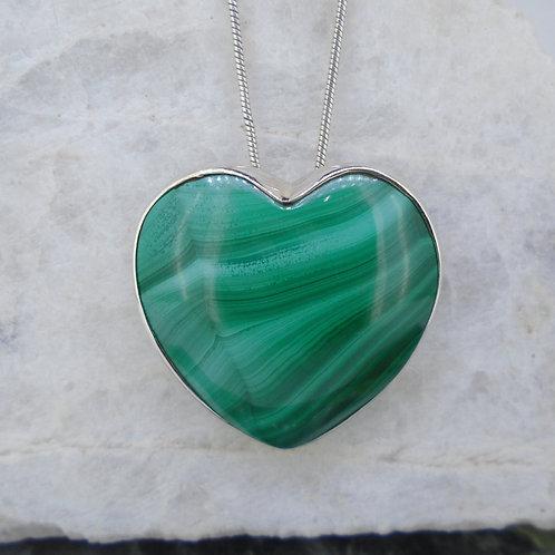 Malachite Sterling Silver Heart Pendant
