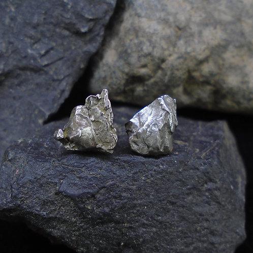 Small Meteorite Sterling Silver Stud Earrings