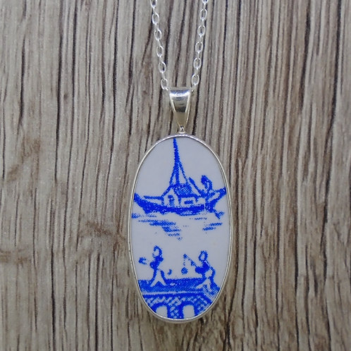 Old Willow Boat & Bridge Sterling Silver Pendant