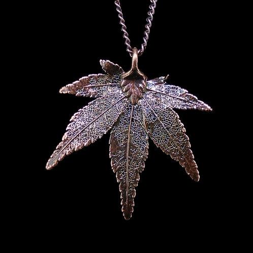 Japanese Maple Leaf Pendant - Antique Copper