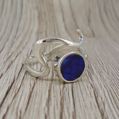 Old Willow Flow Blue Sterling Silver Adjustable Wave Ring