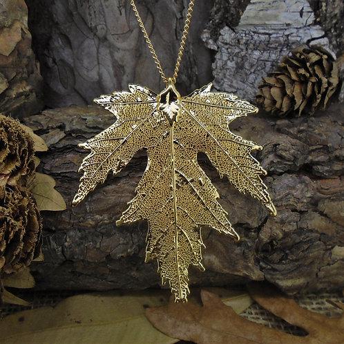 Silver Maple Leaf Pendant - Gold (Medium)