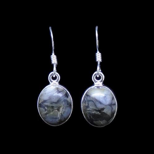 Skye Marble Sterling Silver Small Oval Earrings