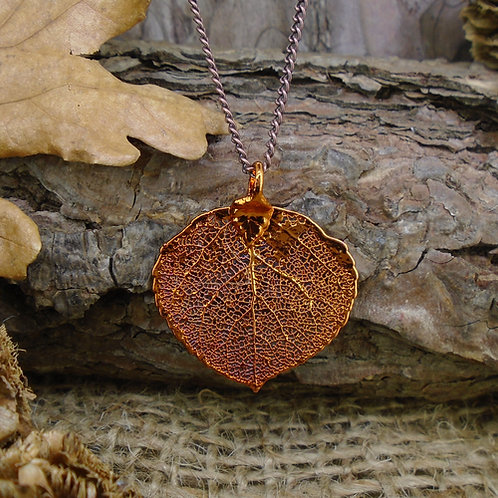 Aspen Leaf Pendant - Red Copper (Small)