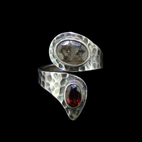 Cairngorm Quartz & Garnet Sterling Silver Wrap Ring