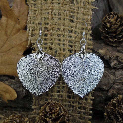 Aspen Leaf Earrings - Silver
