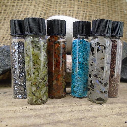 6 x Vials of Genuine Gemstones